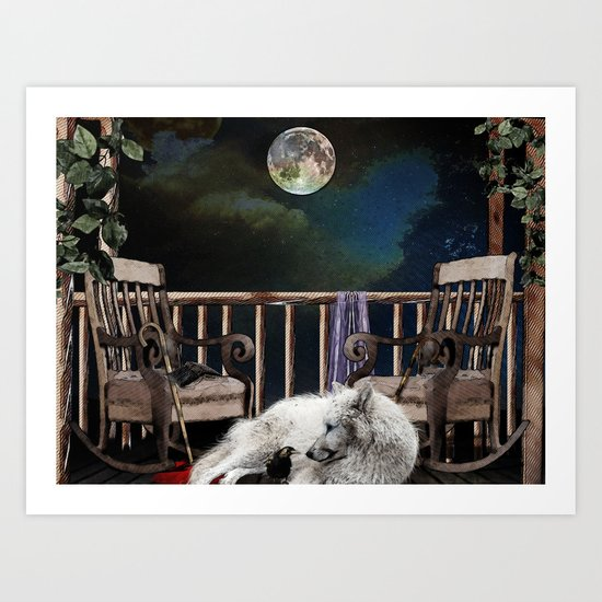 THE RAVEN AND THE WOLF Art Print
