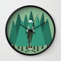 camouflage Wall Clocks featuring Camouflage by Davide Zampedri
