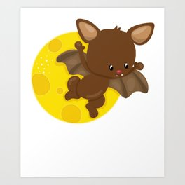 Brown Bat Flying in Front of a Yellow Moon Art Print