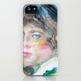 H. D. - HILDA DOOLITTLE watercolor portrait iPhone Case
