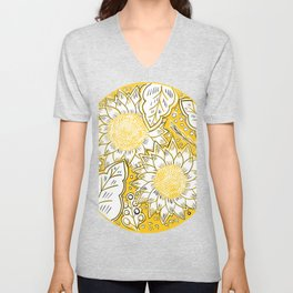 Sketched Sunset Sunflowers Unisex V-Neck