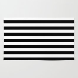 Black and White Horizontal Strips Rug
