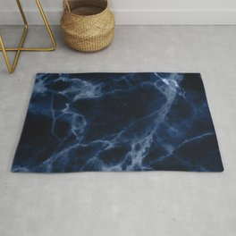 Midnight Blue Marble With Smoky Veins Rug