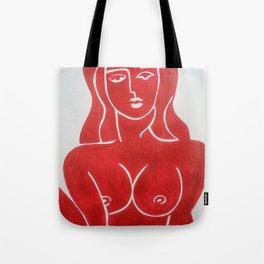 The Lady in Red Erotic Female Nude Woman Art Original Print Tote Bag