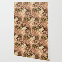 Peachy Floral Abstract Wallpaper