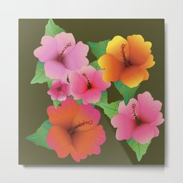 Colorful Hawaiian Hibiscus Flowers Metal Print