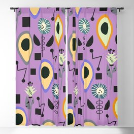 Mid-century flowers with avocados Blackout Curtain
