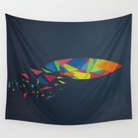 surfboard Wall Tapestries featuring Surfboard abstract triangle by frap231