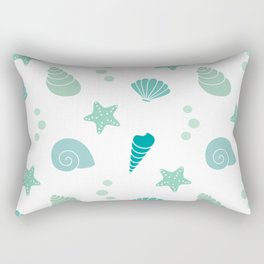 cute summer exotic pattern background illustration with seashells Rectangular Pillow