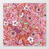Daisy and Bellflower pattern, pink Canvas Print