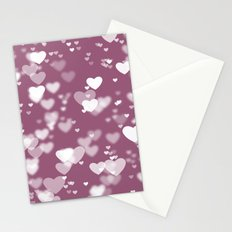 Pink and White Bokeh Hearts Abstract Stationery Cards