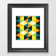 Teal, mustard, black & yellow triangles Framed Art Print