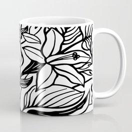 White And Black Floral Minimalist Coffee Mug