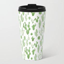 Green cacti on white Travel Mug
