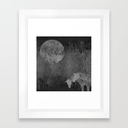Moon with Horses in Grays Framed Art Print