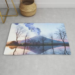 Mount Fuji Eruption-Mt. Fuji Japan-Abstract Japanese Nature Collage Rug