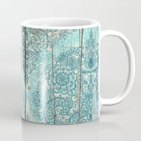 botanical Mugs featuring Teal & Aqua Botanical Doodle on Weathered Wood by micklyn
