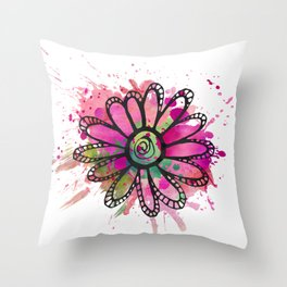 GC031-1 Colorful watercolor doodle flower pink and green Throw Pillow
