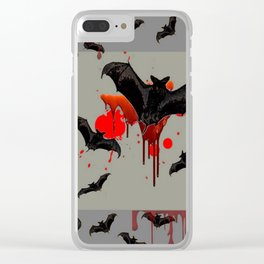 GREY ART OF FLYING BLACK BATS BLOODY  HALLOWEEN PARTY Clear iPhone Case