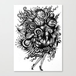 Spaceship Girl_Black Canvas Print