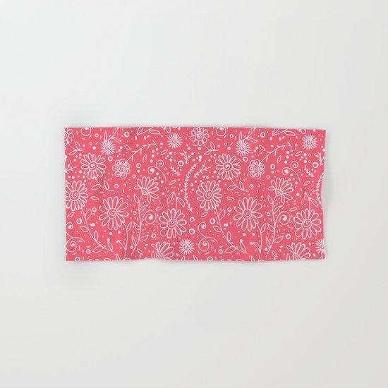 Red doodle floral pattern Hand & Bath Towel