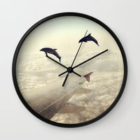 dolphins Wall Clocks featuring Dolphins by Paula Belle Flores