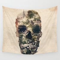 skull Wall Tapestries featuring Skull Town by Ali GULEC