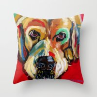 lab Throw Pillows featuring Yellow Lab by Juliette Caron