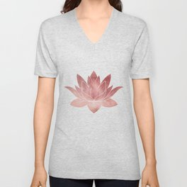 Pink Lotus Flower | Watercolor Texture Unisex V-Neck