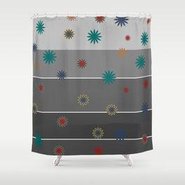 Monochrome + Floral Shower Curtain