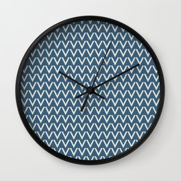 Linen White V Chevron Pattern on Blue Pair To 2020 Color of the Year Chinese Porcelain PPG1160-6 Wall Clock