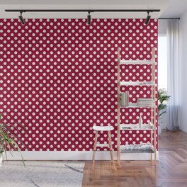 Red and Polka White Dots Wall Mural