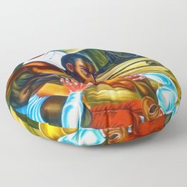 """African American Classical Masterpiece """"Capture African Slave Amistad Revolt"""" by Hale Woodruff Floor Pillow"""