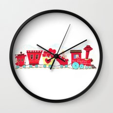 Vintage Valentine Day Card Inspired - Love, Romance, Romatic, Red, Hearts, Cherub, Angels Wall Clock