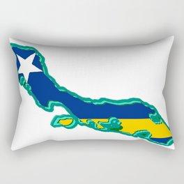 Curacao Map with Flag Rectangular Pillow