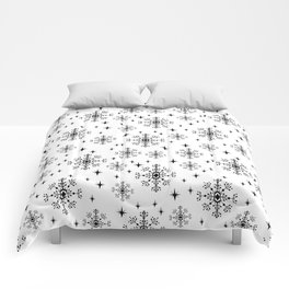 Snowflakes winter christmas minimal holiday black and white decor gifts Comforters