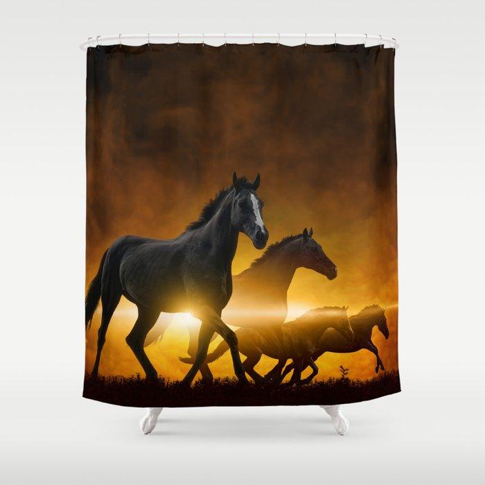 Wild Black Horses Shower Curtain
