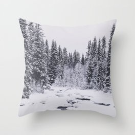 Winter in the forest and a frozen river Throw Pillow