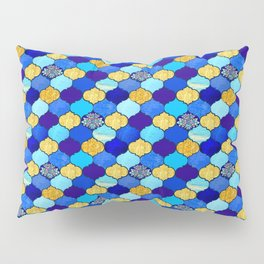 moroccan tiles in blue, aqua and gold Pillow Sham