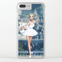 Dancing Snow Ballerina Clear iPhone Case
