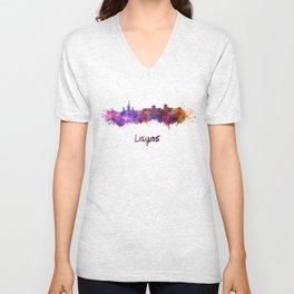 Lagos skyline in watercolor Unisex V-Neck