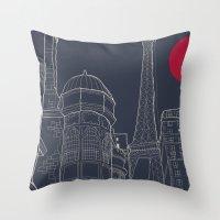 blueprint Throw Pillows featuring Paris Blueprint by ralexandertrejo
