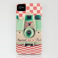 Mint Retro Camera on Red Chequered Background  iPhone (4, 4s) Slim Case