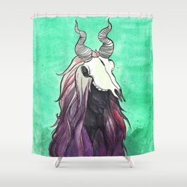 witch with kudu skull Shower Curtain