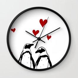 Love Penguins Wall Clock
