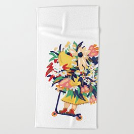 Floral Scooter Babe Beach Towel