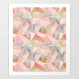 Broken glass in warm colors. Art Print