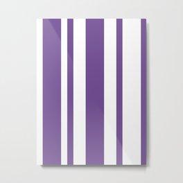 Mixed Vertical Stripes - White and Dark Lavender Violet Metal Print