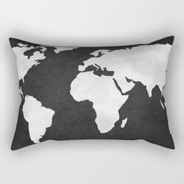 Earth Map Dark Gray and White Continents Rectangular Pillow