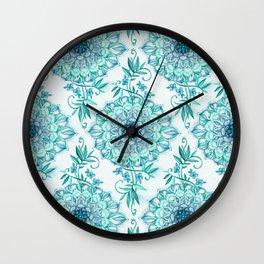 Mint and Teal Boho Nature Mandala Wall Clock